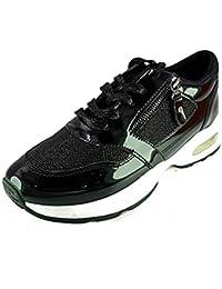 Sneakers Donna Scarpe da Passeggio tg 40 Colore Nero Eco Pelle Lucida e  Lacci 09638e15690
