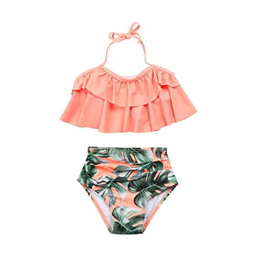 ? Amlaiworld Sommer Retro Blätter Druck Bikini Set Mädchen Baby Strand rüschen BH bademode Mode Kinder Band Schwimmen badeanzüge,1-8 Jahren (8 Jahren, Rosa) Fashion Rosa Kleid Set