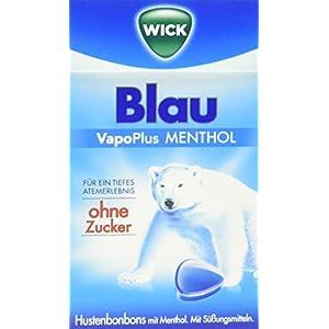 WICK Blau Hustenbonbons ohne Zucker – ein tiefes Atemerlebnis dank Menthol und natürlichem Avensis Minz-Aroma