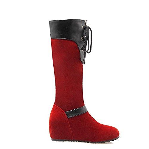 VogueZone009 Donna Colore Assortito Tacco Medio Punta Tonda Allacciare Stivali con Fibbia Rosso