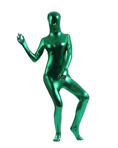 Erwachsene Kostüme Herren Shiny Einteiler Overall Ganzkörperanzug Faschings Anzug Dunkelgrün L