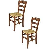 Tommychairs sedie di Design – Set 2 sedie Cuore per Cucina e Sala da Pranzo dallo Stile Classico con Robusta Struttura in Legno di faggio Verniciata Color Noce e Seduta in Paglia