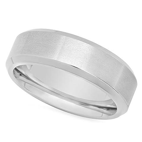 Men's Titanium 8mm Comfort Fit Ring w/Brushed Center & Polished Edges, Size 56.5 + Microfiber Jewelry Polishing Cloth