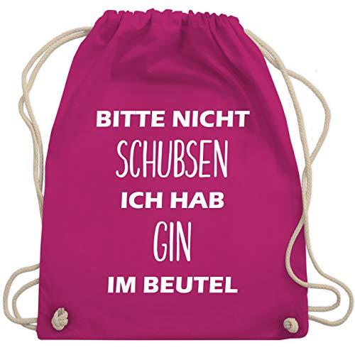 Shirtracer Festival Turnbeutel - Bitte nicht schubsen ich hab Gin im Beutel - Unisize - Fuchsia - WM110 - Turnbeutel und Stoffbeutel aus Bio-Baumwolle