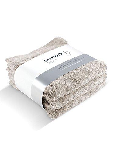 herzbach home Handtuch Seiftuch 3er-Set Premium Qualität aus 100% Baumwolle 33 x 33 cm 600 g/m² hochwertig und Extra weich (sandgrau)