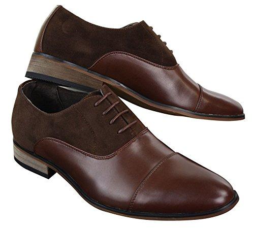 Herrenschuhe Italienisch Leder Und Wildleder Optik Formell Lässig Designer Schuhe Braun