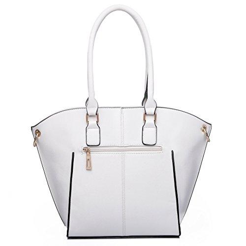Miss Lulu , Damen Schultertasche 6615 White