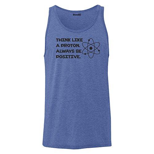Brand88 - Think Like A Proton. Always Be Positive, Unisex Jersey Weste Blau Meliert