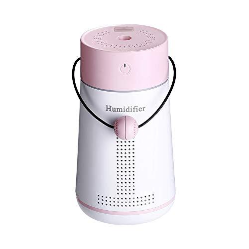 ZYG.GG Mini Casa Umidificatore, 250ml Aria Umidificatore, Aroma Diffusore con Fan e Guidato Luce, per Auto Ufficio Stanza del Bambino Camera da Letto,Pink