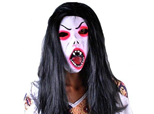 JJH-ENTER Maske Halloween Grimasse Maske Mit haaren Terror Heikel Emulsion Teufel (Maske Schwarze Latex Halb Teufel)