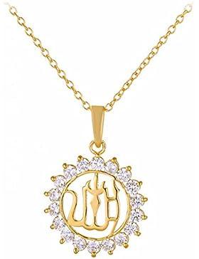 Gudeke Islamische Muslim Schmuck 18k Gold überzogener Kristall-Allah-Anhänger-Halskette