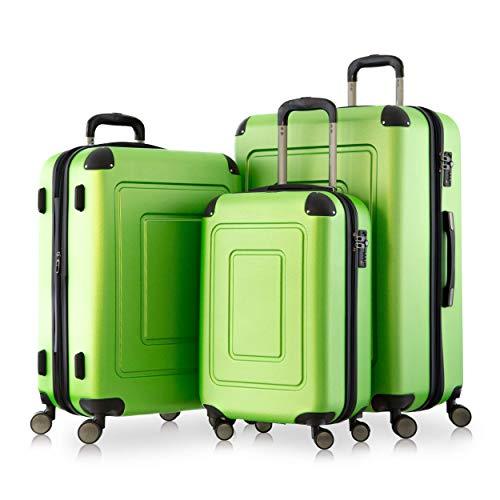 Happy Trolley - 3er Koffer-Set Trolley-Set Rollkoffer Hartschalen-Koffer Reisekoffer Lugano sehr leicht, TSA, (S, M & XL), Apfelgrün