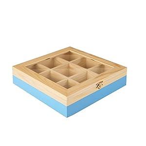 ibili 748550 Boîte à thé avec 9 Compartiments de pin Bois Brun/Bleu Clair 24 x 24 x 7 cm