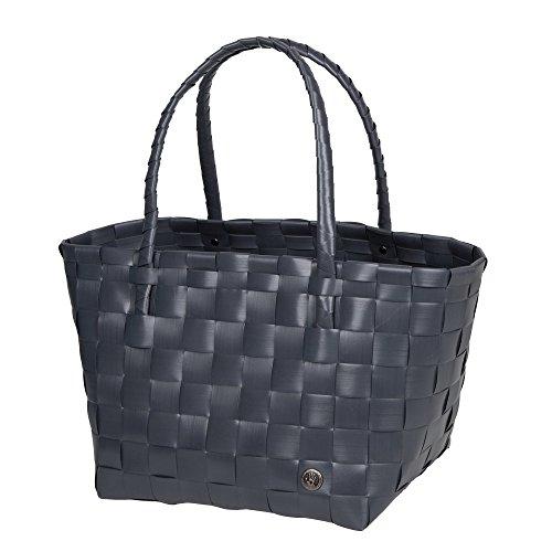 Unek Goods Handed By Paris Woven Reusable Shopping Tote Bag, Dark Grey