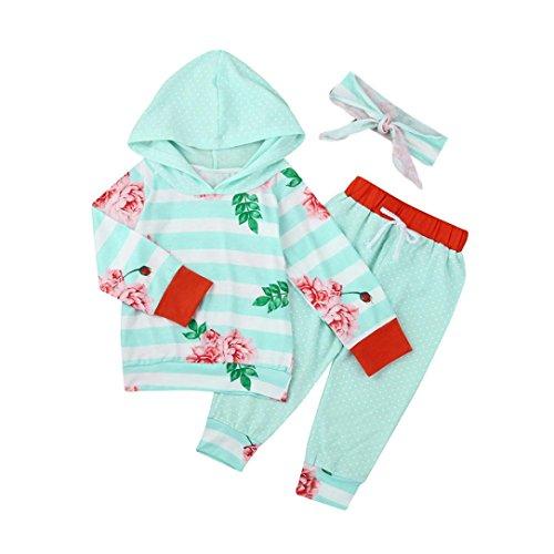 Kleinkind Blumen Gestreift Mit Kapuze Tops + Hosen Baby Mädchen Junge Kleider Set_Hirolan (80cm, Blau)