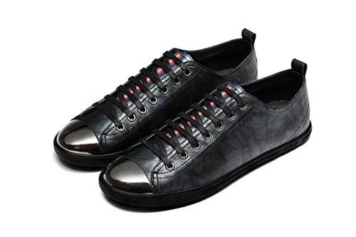 OPP Classique Sneakers Chaussures de Ville en Cuir à Lacets Homme Noir