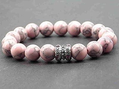 Bracelet chic Miss Chichi en turquoise rose reconstituée avec perle en métal et cristaux sertis