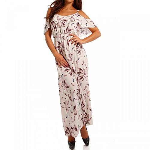 Young-Fashion Damen Maxikleid mit Volant Bohemian Bodenlanges Kleid Strandkleid, Farbe:Creme2;Größe:S/M- 36-38