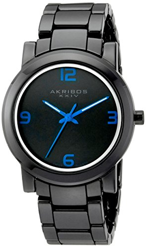 Akribos XXIV Men's Ceramic Swiss Quartz Black Bracelet Watch