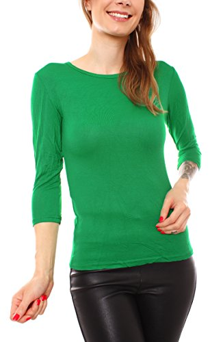 Easy Young Fashion Damen Basic Halbarm Shirt Rundhals Uni Grasgrün