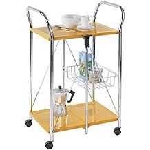 WENKO 900010100 Carrello cucina e portavivande Sunny arancio - pieghevole, Metallo patinato, 56.5 x 90.5 x 44 cm, Arancione