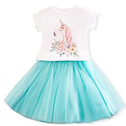 TTYAOVO Vestido Informal de Unicornio para Niños Pequeños Vestido de Unicornio para Niñas Pequeñas Camiseta con Estampado Estampado + Tutu Falda Talla 4-5 años Azul