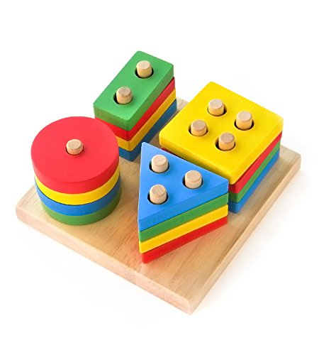 Boxiki Kids Stackable Wooden Toys and Stacking Board Figures | Set of Stackable Geometric Figures | Non-Toxic Wooden Toy | Educational Toys