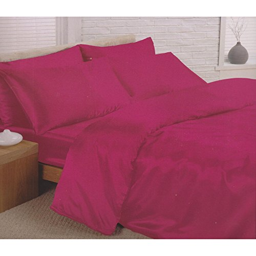 Double bed plain satin complete set cerise hot fuschia pink 6 piece double bedding set quilt / duvet cover fitted sheet and 4 pillowcases