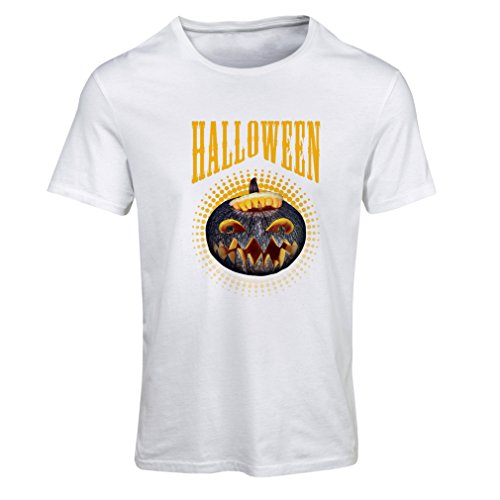 Frauen T-Shirt Halloween Kürbis - Party Kostüm Ideen 2017 (XX-Large Weiß Mehrfarben)