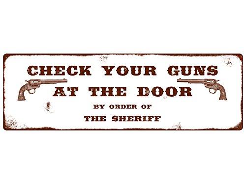 hild CHECK YOUR GUNS Tür Eingang Western Style Cowboy ()