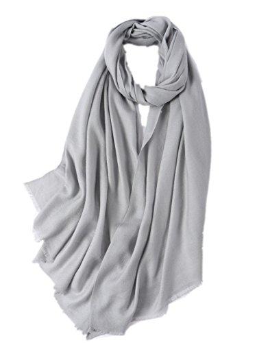 Prettystern - donne sciarpa lana fibre twill xl 210cm frange corte tinta unita lunga pashmina stola - grigio argento