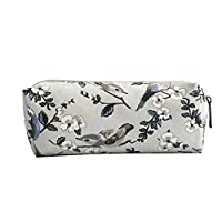 Miss Lulu Pencil Case Fashion Flower Birds Pattern Printed Canvas Ziped Pouch Bag for Boys Girl Students (16J Grey)