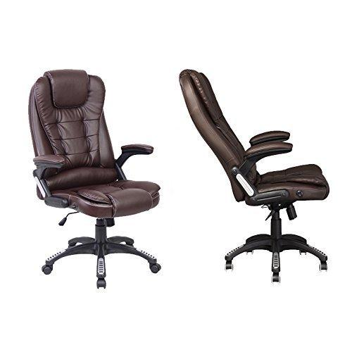 Leder Computer Schreibtisch Stuhl (Neo Exekutive Leder Spiele Büro Computer-schreibtisch Drehgelenk Verstellbare lehne Stuhl oder Massage Liegestuhl erhältlich in 4 Farben - Lehnstuhl - Braun)