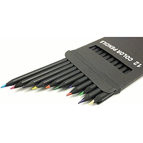 Vibrant Art Crayons de couleur pour l'écriture, le dessin, livres de coloriage pour adulte et Artiste Sketch, Pré-affûtée Cœur souple Couleurs assorties Set of 12