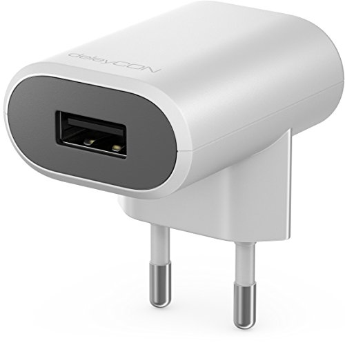 deleyCON Universal USB Ladegerät Ladeadapter - 1x USB Port - Smart-Chip Technologie - 5W 1,0A - USB Netzteil für Handy & Tablet - Weiß - Smart-handy-universal-ladegerät