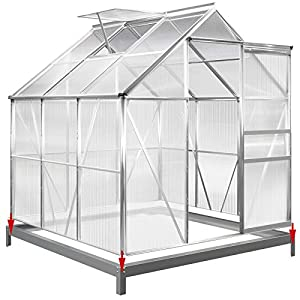 Deuba Aluminium Gewächshaus 3,7m² mit Fundament 190x195cm inkl. Dachfenster Treibhaus Garten Frühbeet Aufzucht 5,85m³