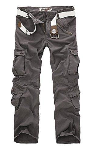 Ghope Herren Stretch Cargo-Hose ohne Gürtel Arbeitshose Bundhose Armee Camouflage Freizeithose Wasserwäsche Cargohose mehrere Tasche Grau