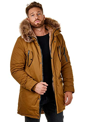 EightyFive EF7128 Herren Parka Mantel Winterjacke Kunstfell Kapuze Warm Gefüttert Teddyfell Schwarz Khaki Camel XS-XL, Größe:S, Farbe:Camel - 3