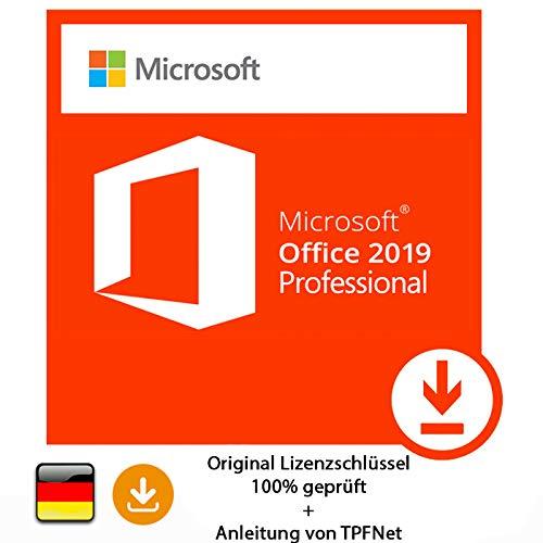 Microsoft® Office 2019 Professional 32 bit & 64 bit Vollversion Original Lizenzschlüssel per Post und E-Mail + Anleitung von TPFNet - Versand maximal 60Min