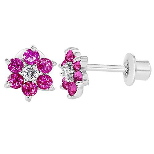Rhodinierte Kristall-Blumen-Ohrringe für Babys/Kinder, mit Schraubverschluss, pink