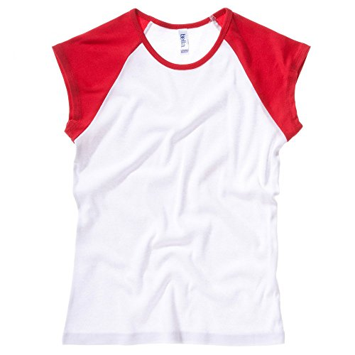 Bella+Canvas Baby rib cap sleeve contrast raglan t-shirt White / Red S (Sleeve College Womens T-shirt Cap)