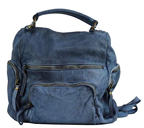 BZNA Bag Stella Blau blue Backpacker Designer Rucksack Damenhandtasche Schultertasche Leder Nappa sheep ItalyNeu