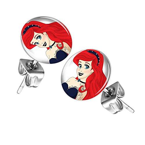 Mianova Ohrringe Stecker Rund Klein Ohrstecker Runde Platte Silber mit Motiv Gothic Tattoo Girl mit roten Haaren
