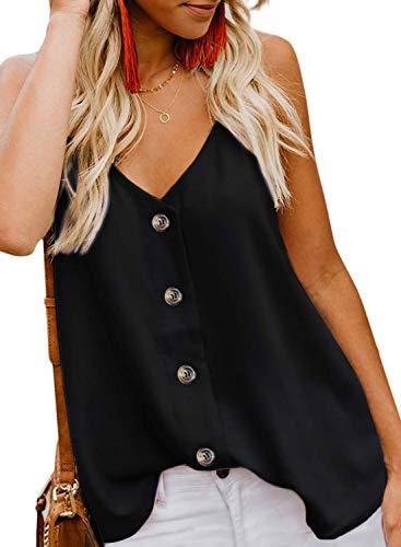 KOKOUK Womens Summer Sleeveless V-Neck Blouse Casual Adjustable Spaghetti Straps Vest Tank Tops S-XXL -