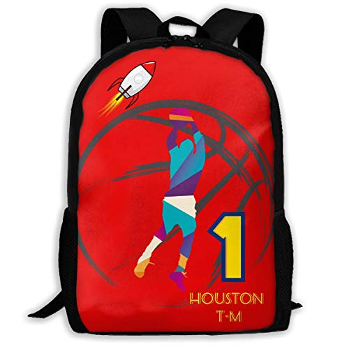 TRFashion Houston Basketball 1 Unisex Custom Backpack School Leisure Sports Book Bags Durable Oxford College Laptop Computer Shoulder Bags Lightweight Travel Daypacks Rucksack