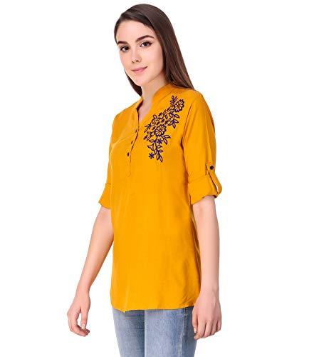 Elyraa Yellow Women Girls Top/Short Tunics Embroidered Cotton Top for Dailywear Casual Women/Girls Tops (Yellow, Medium)