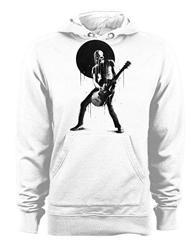 Felpa con cappuccio music & death - musica e morte- skull guitar- - Tutte le taglie Bianco