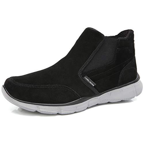 CAMEL CROWN Herren Stiefel Winter Leder Slip On Ankle Boots Warm-gepolsterte  Rutschfeste Wasserdichte Schuhe für Casual Daily Walk Leisure c343be3804