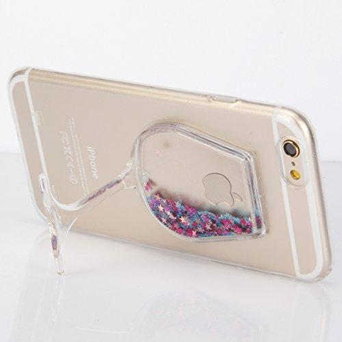 """iPhone 6sPlus Handyhülle, iPhone 6Plus Liquid TPU Case, CLTPY Kreativ 3D Fließen Flüssig Bling Schwimmend Treibsand Herz, Glanz Shiny Kristallklar Schale Etui für 5.5"""" Apple iPhone 6Plus/6sPlus (Nicht Blauer Stern"""
