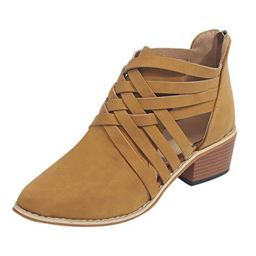 VJGOAL Damen Freizeitschuhe, 4CM Damen Mode Woven Herbst Knöchel Solid Roman Martin Stiefel Single Short Wedges Zip Schuhe (Braun, 42 EU)